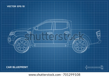Design electric car drawing on blueprint vectores en stock 709001878 drawing of the car on a blue background side view of pickup industrial blueprint malvernweather Images