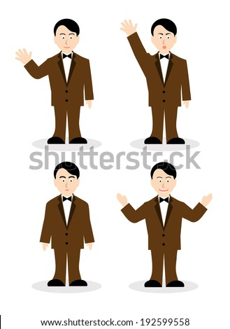 drawing of the man of various emotions - stock vector