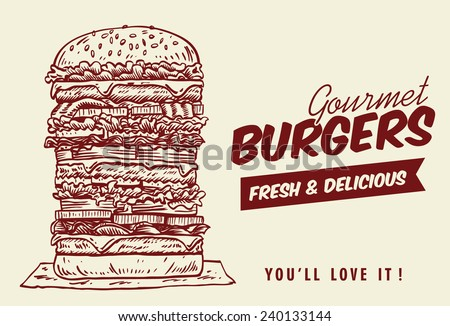 Drawing of tower hamburger, vector - stock vector