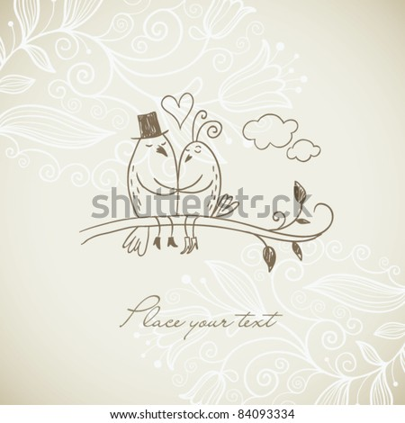 Drawing of Two loving birds on branch - stock vector