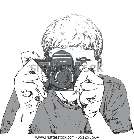 Drawing of young photographer with vintage camera - stock vector
