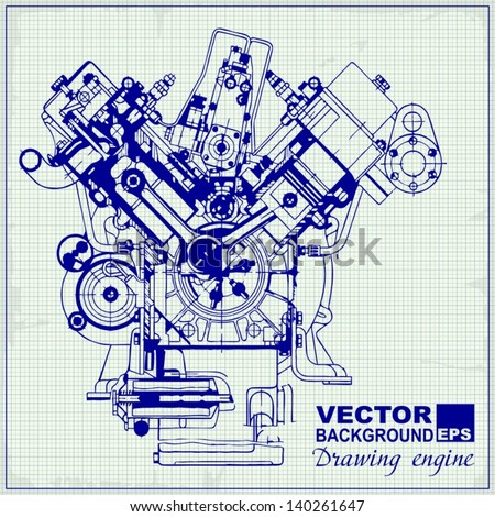 Engine blueprint stock images royalty free images vectors drawing old engine on graph paper vector background malvernweather Gallery
