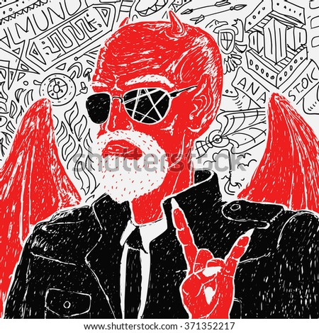 Drawing on a graphic tablet. Vector Red Devil Biker in Jacket.