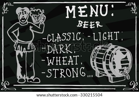 drawing on the blackboard man with a beer in hand and a menu - stock vector