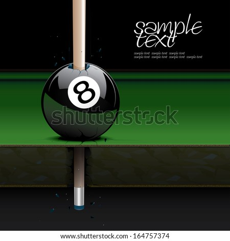 Drawing realistic billiard table and ball set 3 - stock vector