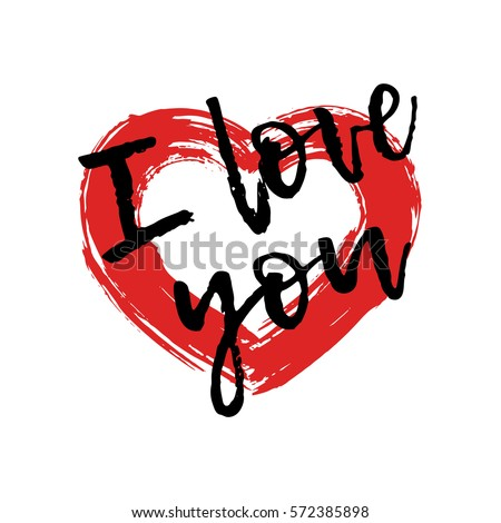 drawing red heart painted brush strokes with an text i love you symbol - Cartoon Valentine Pictures