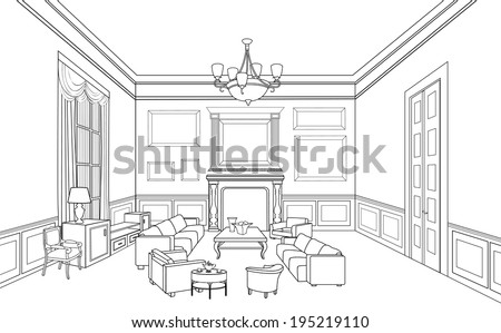 Drawing-room. Editable vector illustration of an outline sketch of an interior. Furniture blueprint.  - stock vector