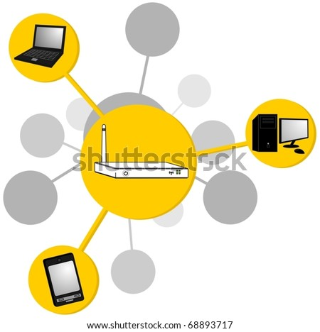 Drawing router transmitting internet signal - stock vector