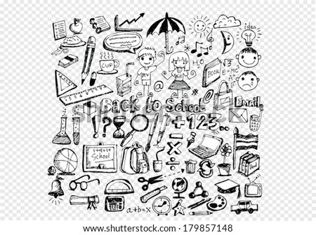 drawing school items Back to School  on transparent background - stock vector