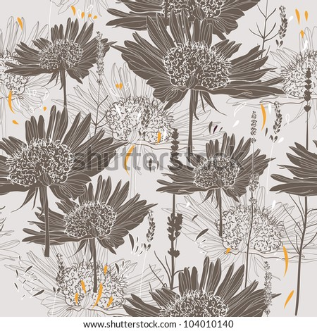 Drawing seamless background with flowers - stock vector