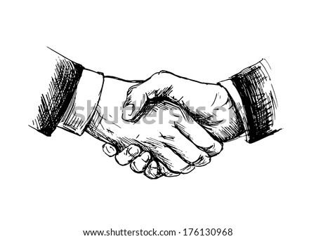 Drawing shake hands. Vector illustration - stock vector