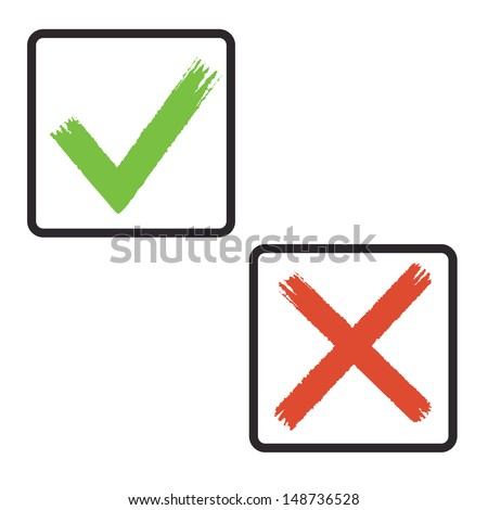 drawing sign tick and cross in frame. vector eps8 - stock vector