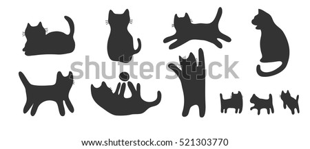 drawing silhouette cats set / cat shadow in many position