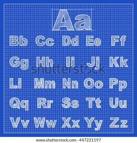 Blueprint alphabet stock images royalty free images vectors drawing sketch font with blueprint background scribble style flat design for business financial marketing malvernweather Gallery