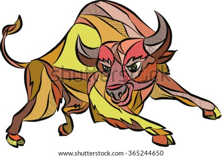 Drawing sketch style illustration of an angry raging bull facing front attacking charging set on isolated white background.  - stock vector