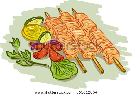 Drawing sketch style illustration of chicken kebabs skewers with vegetables, coriander, lemon, leaf, cucumber on isolated white background. - stock vector