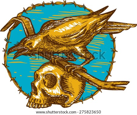 Drawing style illustration of a crow bird perched on a crowbar on top of a skull set inside circle barbed wire viewed from the side. 