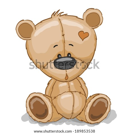 Drawing Teddy bear isolated on a white background - stock vector
