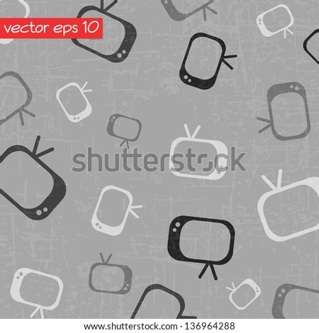 Drawing television background - stock vector