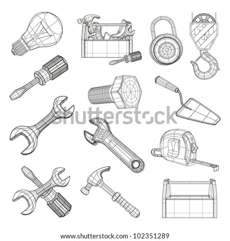 Drawing Tools Set Vector Stock Vector 102351289 - Shutterstock
