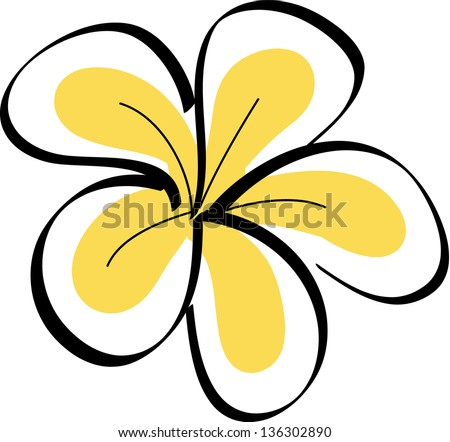 Plumeria Flower Line Drawing Drawing tropical plumeria
