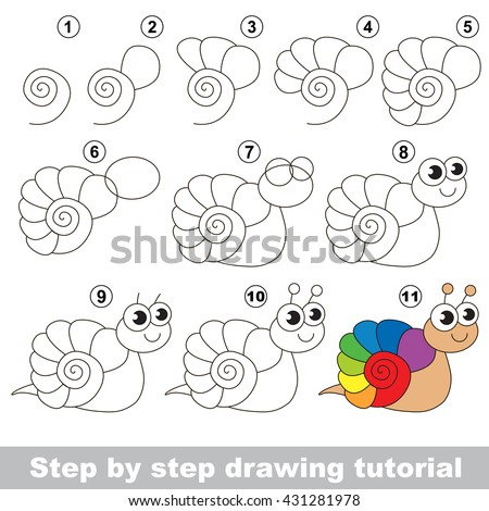 Drawing tutorial for children. Easy educational kid game. Simple level of difficulty. Kid education and gaming. How to draw The Rainbow Snail. - stock vector
