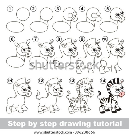 Drawing Tutorial Children How Draw Cute Lager-vektor ...