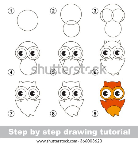 Drawing tutorial. How to draw a Cute Owl - stock vector