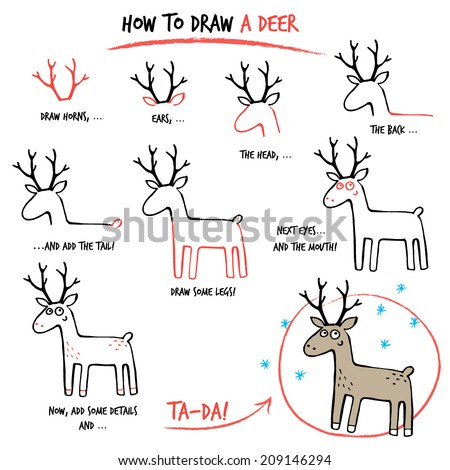 Draw tutorial stock images royalty free images vectors for How to draw a deer step by step