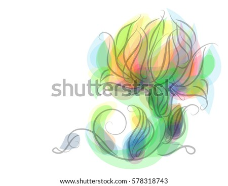 Line Drawing Vector Graphics : Drawing vector graphics floral pattern design stock 578318743
