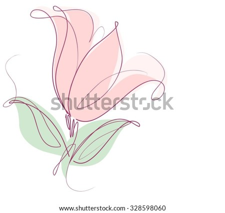Drawing vector graphics with floral patterns with  tulips for design. Floral flower natural design. Graphic, sketch drawing. tulip.