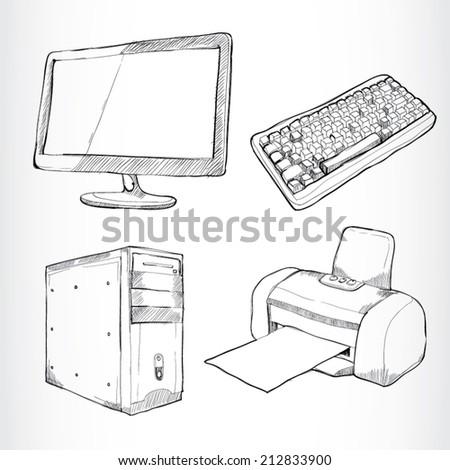 drawing vector Set of computers - stock vector