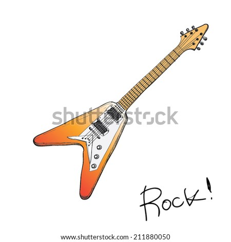 Drawing Vector Set Of Rockn Roll Band Equipment Guitar