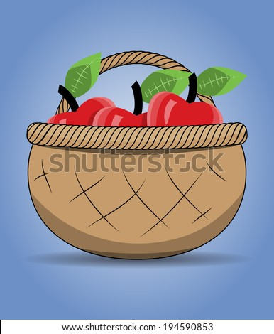 Drawing wicker basket with red apples