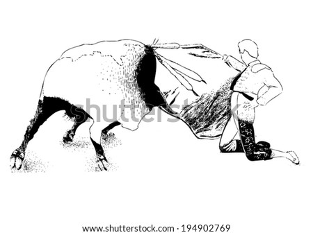 Drawing With Lines And Dots : Drawing lines dots corrida bull man stock vector 194902769