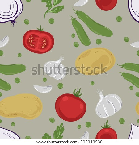 Drawing with potatoes, tomatoes, garlic, onion, peas and parsley. Seamless pattern with vegetables on a beige background.