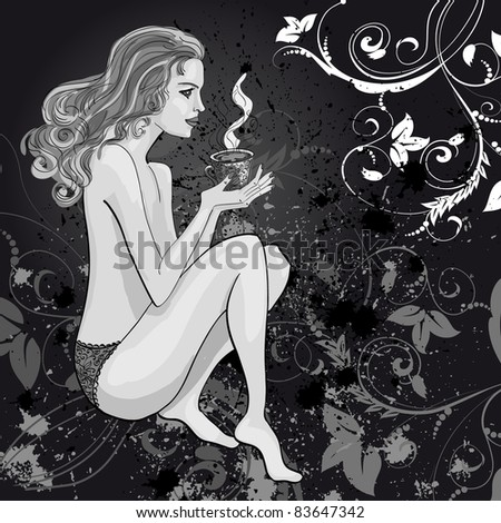 drawing woman with a cup of tea - stock vector