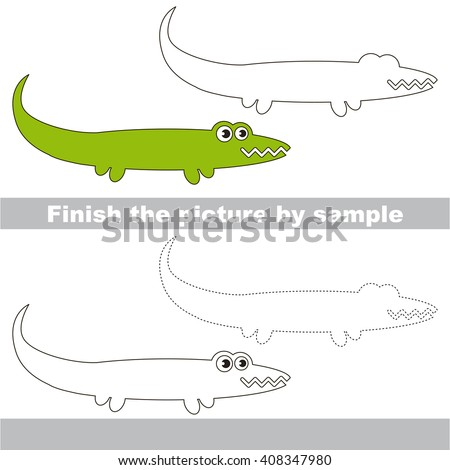 how to draw alligator for kid