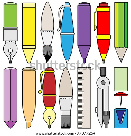 drawing writing and painting tools and accessories - stock vector