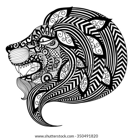 Book For Coloring | Drawing Zentangle Angry Lion Coloring Book Stock Vektorgrafik