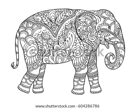 Drawing Zentangle Elephant Coloring Book Adult Stock Vector (Royalty ...
