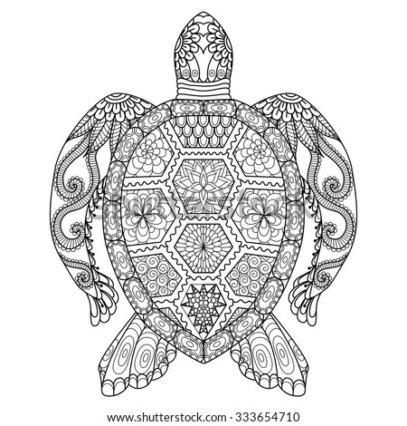 Drawing Zentangle Turtle For Coloring Page, Shirt Design Effect, Logo,  Tattoo And Decoration