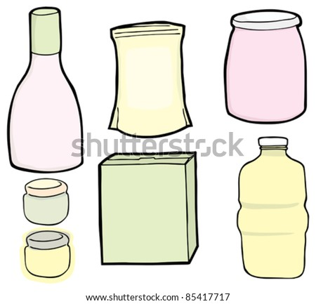Drawings of a generic bottle, jars, box and bag used for food and drinks. - stock vector
