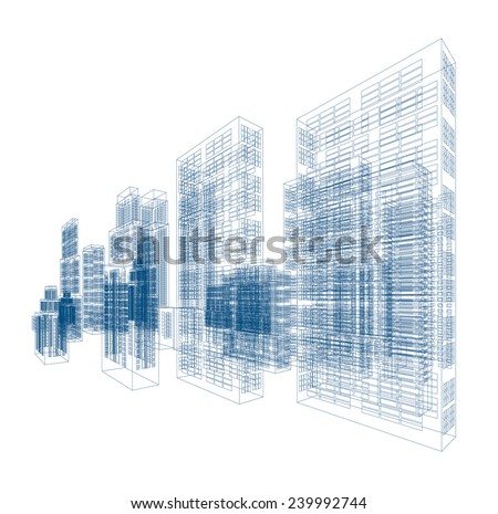 Drawings of skyscrapers and homes. - stock vector