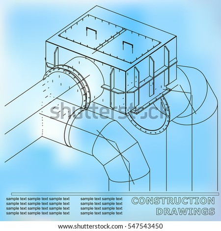 Drawings structures pipes pipe 3 d blueprint stock vector 547543450 drawings of structures pipes and pipe 3d blueprint of steel structures blue malvernweather Images