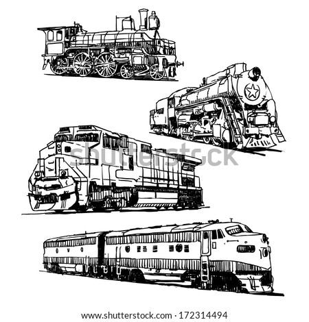 Drawings of trains on white background - stock vector