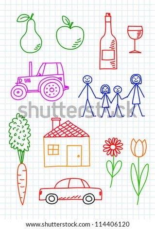 Drawings on squared paper - stock vector