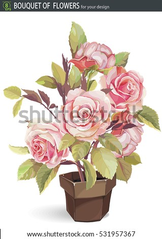 Pot rose stock images royalty free images vectors shutterstock drawings romantic floral bouquets retro flowers plant in a brown ceramic pot eps8 ccuart Image collections