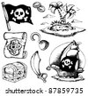 Drawings with pirate theme 1 - vector illustration. - stock photo