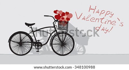 Drawn bicycle on the background of the inscription Happy Valentine's day - stock vector